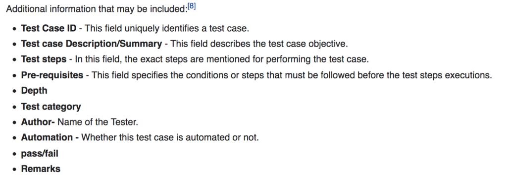 Test Case attributes